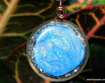 Orgone Pendant, Abstract Art, Abstract Jewelry, Resin Pendant,  Resin Art, Healing Amulet, Soul Clearing Pendant, Hematite ~501