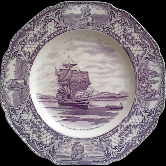 """PURPLE TRANSFERWARE PLATE, Crown Ducal,  """"Colonial Times"""", 10 1/2"""" Plate, """"The Mayflower in Plymouth Harbor"""", Serving, Plum, Mulberry"""