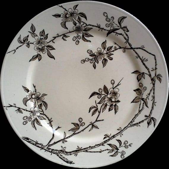 """IRONSTONE DINNER PLATE, P B & S, Tokio Oriental Pattern Plate, Bamboo, 10 1/2"""", England, Large Dinner or Charger, Serving, Wall Decor"""