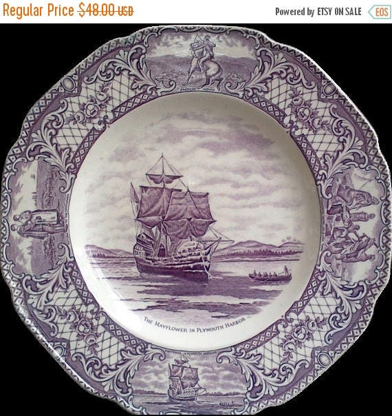 "SALE PURPLE TRANSFERWARE Plate, Crown Ducal,  ""Colonial Times"", 10 1/2"" Plate, ""The Mayflower in Plymouth Harbor"", Serving, Plum, Mulberry"