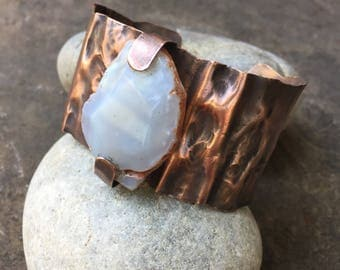 Copper Fold Form Bracelet with Agate