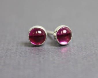 Ruby Stud Earrings, 4mm Ruby Post Earrings, Tiny Ruby Earrings, Pink Stud Earrings, Ruby Studs, Ruby Earrings, Kathy Bankston, Ruby Jewelry