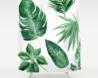Modern Tropical Palm Leaf Shower Curtain, tropical curtain, palm leaf curtain, leaf shower curtain, palm shower curtain, botanical curtain
