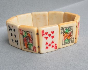 Vintage Carved Bone Tile Playing Cards Stretch Bracelet