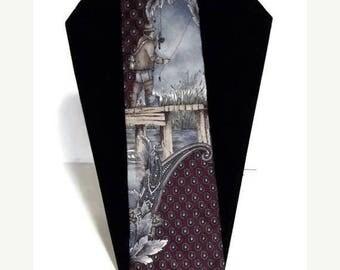 Gift for him, Gift for the fish lover, Gift for dad, Fisherman necktie, 100% silk necktie, novelty necktie,  Henry Grethel Necktie