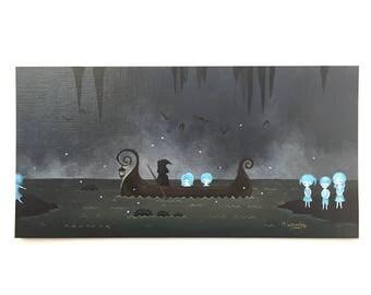 "Original acrylic painting, ""Charon's Crossing"" Greek mythology, underworld, river Styx, pop surrealism, creepy, dark, whimsical"