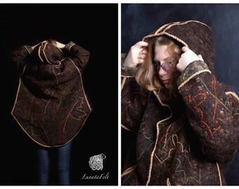 Maple leaves - Eco / boho chic style Plus size warm merino wool felt coat with hood and pockets - OOAK