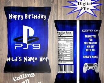 Video Game Treat Bags-Favor Bags-Custom Chip Bags-Video Game Party-Digital File-Printable