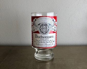 vintage large Budweiser glass 32oz beer glass stein 80s