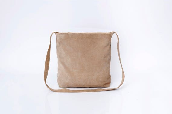 Light Brown Leather Tote Bag Suede Leather Bag Long Leather