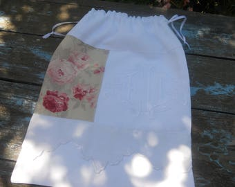 old cloth beautifully embroidered monograms pink shabby French antique linen laundry bag