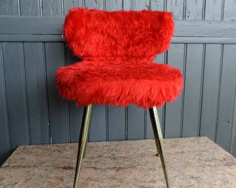 A hot red boudoir chair, moumoute chair, vintage french, mid century furniture
