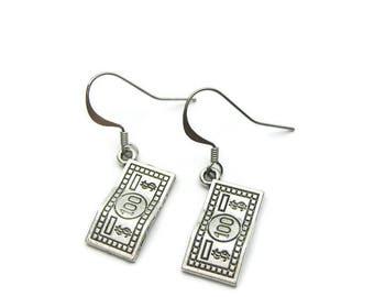 Money Earrings, 100 Bill Earrings, 100 Bucks Earrings, Currency Earrings, Earrings For Money Lover, Banker Earrings, Earrings For Banker