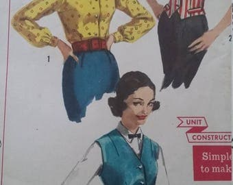 UNCUT and FF Pattern Pieces Vintage Simplicity 2240 Sewing Pattern Size 12 Bust 32 Weskit and Blouse