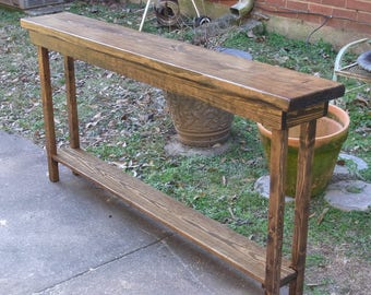 """60"""" Rustic Console Table Extra Narrow Sofa Table Entryway Hallway Foyer Table with Shelf 60 Inch Long"""