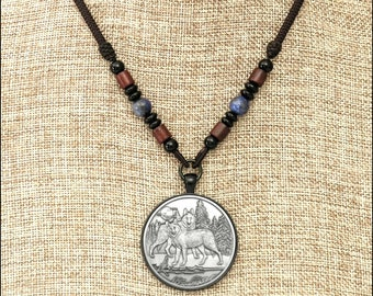 Alpha Wolves Coin Medallion Pendant on Braided Cord Necklace with Accent Beads