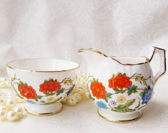 Vintage Aynsley Famille Rose Cream and Open Sugar Set / Beautful Floral Design / Tea Party / 1970s