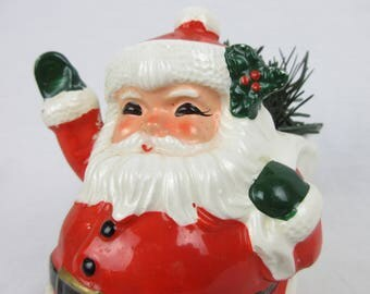 Vintage Santa Christmas Planter, Vase  / Mid Century, 1950s 1960s / Made in Japan / Lefton, Enesco / Christmas Kitch / Ceramic, Hand Painted