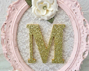 A-Z Girl Nursery Letters Baby Girl Nursery Art Pink and Gold Wall Letters Shabby Chic Nursery Decor