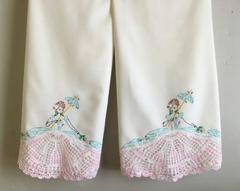 Two Vintage Hand Embroidered and Crocheted Pillowcases, Ladies in Dresses Pillow Cases, Vintage Percale Bedding