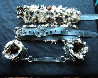 Kinky leopard print 'VEGAN' handcuffs