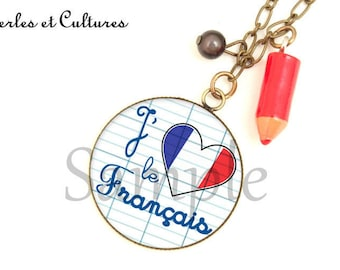 My favorite material Necklace: I love the red white blue Francaisღ school pencil heart cabochon blue red white
