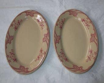 "2 Shenango China Restaurant Ware 7.5"" Oval Butter Trays, IncaWare RimRol SHO25 (c. 1940s)"