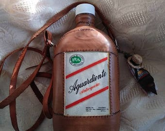 Vintage/Aguardiente/Tooled Leather/Flask/Columbia/Collectible