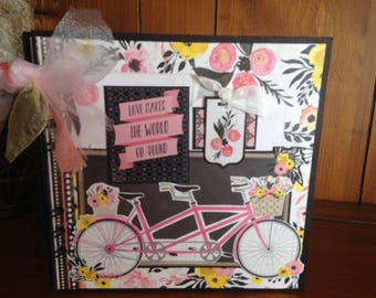 Bicycle Built for Two Chipboard Book - Completed Scrapbook Album