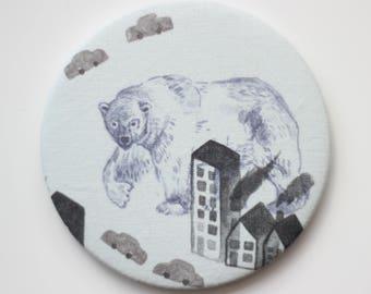 Illustrated Polar Bear Handmade Pocket Mirror