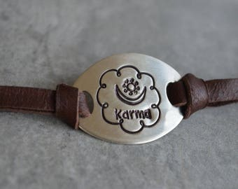 Karma Sterling silver Leather Bracelet Reclaimed Silver Eco Friendly Harmony Stamp