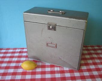 Metal File Box - With Key - Secret Cash / Document Compartment - Expandable Opening - Industrial Office - Retro Vintage 1960's