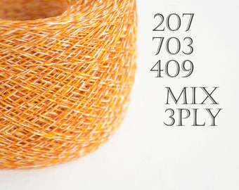 melange Linen yarn - yellow, orange and ivory mix. Linen crochet thread, weaving yarn