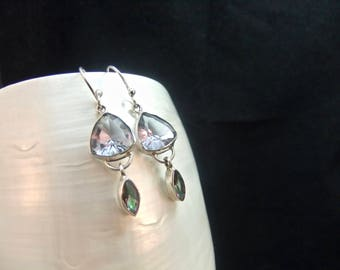 Alexandrite & Mystic Topaz Sterling Silver Drop Earrings