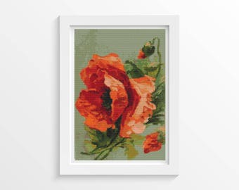 Poppy Cross Stitch Chart, Poppies Cross Stitch Pattern PDF, Art Cross Stitch, Flowers Cross Stitch, Catherine Klein (KLEIN04)