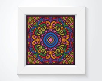 Mandala Cross Stitch Kit, Medley Cross Stitch, Embroidery Kit, Art Cross Stitch (ART035)