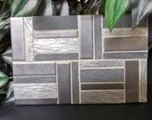 """Gray Black Stainless Steel Slate Large Oversized Casserole Tile Trivet  8"""" x 6"""""""