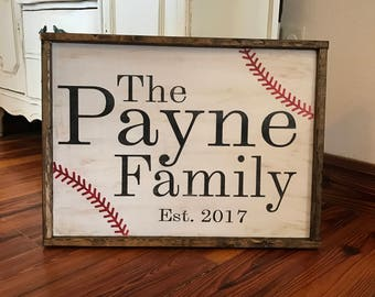Personalized Baseball Family name sign