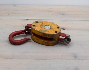 Vintage Wood Pulley Wheel, Barn Decor