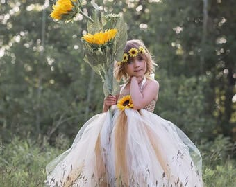 Sunflower Dreams -Ivory and gold flower girl tutu dress with sunflower, for country weddings