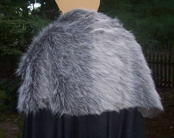 Game of Thrones Cape with Gray Brown Fur- Winterfell Cloak - Jon Snow -Knight's Watch - Ned Stark - Robb Stark - Medieval Costume - Viking