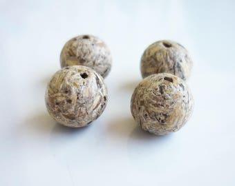 set of 4 wood beads organic 10mm