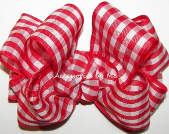 Gingham Hair Bow, Red Picnic Plaid Clip, Check Ribbon Bow Barrette, Baby Plaid Bow Hair Band, Toddler Cowgirls Plaid Bows, Cow Girls Pageant