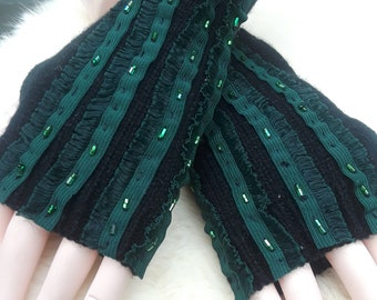 Cabaret Green and Black Fingerless Gloves