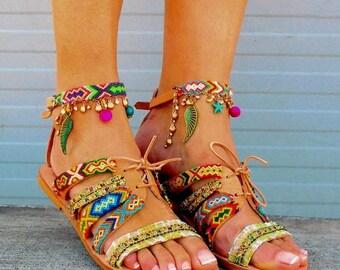25% Off Gladiator Boho Sandals, Greek Sandals, Friendship Strappy Sandals ''Maliboo''