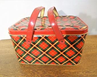 1940's Vintage Tin Storage Box - Large Tin Picnic Basket - Red Tartan Plaid Metal Basket Container - Vintage Storage - Photo Prop