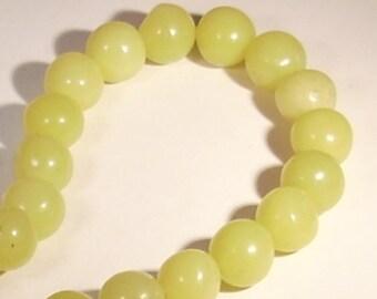 Semi-precious 10mm lemon jade gemstone 10 beads