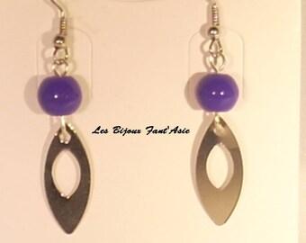 Purple glass bead hook earrings and silver metal openwork leaf
