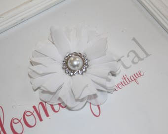 White Large Chiffon Flower Clip with Pearl Button