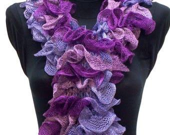 scarf purple, purple and pink ruffles